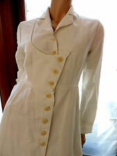 ROBE MANTEAU  BLANC   COTELAC  T 38/40 / VINTAGE COAT DRESS