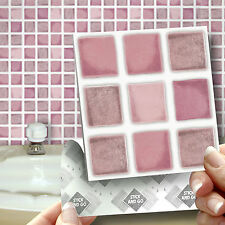 18 Stick and Go Dusky Pink Bathroom or Kitchen Wall Tiles Transfers Stickers
