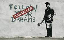 "Banksy, Follow Your Dreams, 36""x24"", Graffiti Art, Giclee Canvas Print"