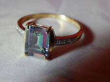 10K YELLOW GOLD 2.2 CT. OCTAGON  MYSTIC TOPAZ & DIAMOND ACCENT RING ~ SIZE 7