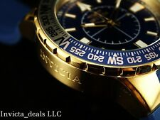 Invicta Men's 52mm Aviator Voyage Blue Dial Gold Tone Silicone Strap Watch