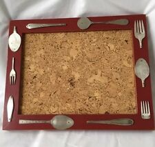 Country Kitchen Cork Board With Silverware Motif