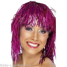 Womens 70's Cyber Tinsel Wig Pink Disco Fancy Dress Night Fever Pop Star Colour