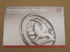 Vauxhall Car and Accessory Price Guide August 2007 Edition 1 Brochure