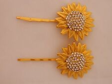 Vintage Mid Century Sunflower Bobby Pins Hair Ornament Rhinestone Gold Tone