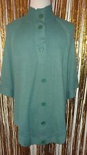 Womens Angee One Size Fits Most Green Cape Style Poncho Button Knitted Sweater