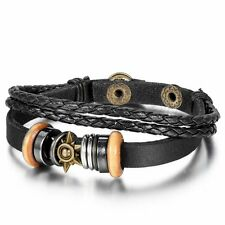 Cool Metal Tribal Sun Surfer Leather Cord Braided Bracelet Wristband Men's Black