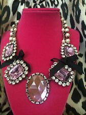 Betsey Johnson HUGE Pink Crystal Jewel Black Bow Pearl Chain Statement Necklace