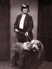 OLD ENGLISH SHEEPDOG LADY AND DOGS OLD PHOTO IMAGE ON DOG GREETINGS NOTE CARD