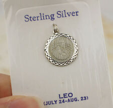 Vintage Sterling Silver LEO Charm Pendant Round Disc Zodiac Star Sign Lion