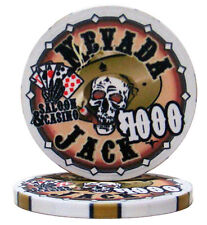 "25 ct White $1000 1k Thousand Dollar ""Nevada Jack"" Skull 10g Ceramic Poker Chips"