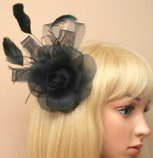 Black Feather Rose Beak Clip Fascinator Ladies Day Weddings Funeral Royal Ascot