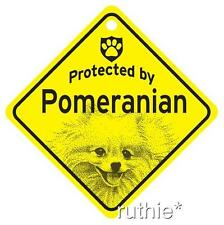 Protected by Pomeranian Dog Window Sign Made in USA
