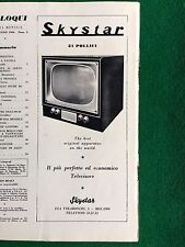 AM102 Pubblicità Advertising Clipping 26x10 (1954) SKYSTAR 21 POLLICI TV