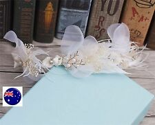 Women Lady Bride White Feather Party Race Hair Clip Fascinator Garland Headband