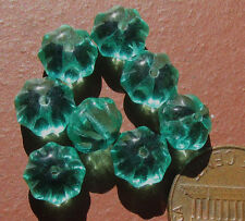 50 Vintage Czech Glass Green Puffy Flower Rondelle Beads 8mm x 5.5mm