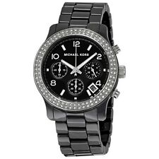 Michael Kors MK5190 Black Ceramic Chronograph Runway Glitz Women Wrist Watch