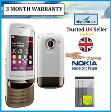 Nokia C2-02 C202 Golden White (Unlocked) Mobile Phone Touch & Type New Condition