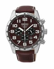 New Seiko SSC227 Solar Chronograph Brown Leather Band Brown Dial Men's Watch