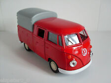 VW T1 DOKA red,flat-bed trucks with tarpaulin+Roof arches,Welly Car Model