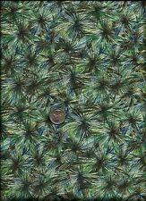 """""""Patterns Of Nature"""" Print green drk olive teal on very lt blue Fabric - Woodrow"""