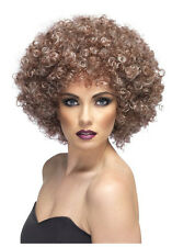 Para Mujer 70's Natural Afro Peluca Curly Brown Pop Star Disco Fancy Dress Tina fiebre