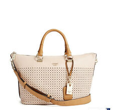 NWT GUESS Juliana laser Cut Perforated Satchel Handbag Purse Nude Pink