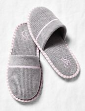 NEW VICTORIA'S SECRET VS GRAY PINK STRIPE COZY SLIPPERS NON SKID M MEDIUM 7 8