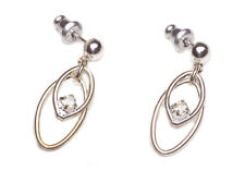 MARGARITA SILVER STUD EARRINGS W DANGLE DOUBLE OVAL & DIAMANTÉ DETAIL (ZX54)