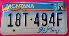Montana License Plate 1997 Sticker  18T+494F One Plate