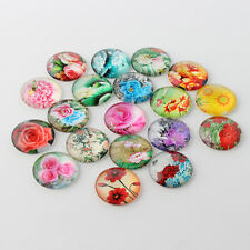 10 pcs Flower Printed Glass Cabochons, Half Round/Dome, Mixed Style 14mm