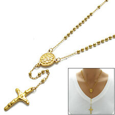 """316L Stainless Steel Gold 18"""" Rosary 3mm Beads Necklace with Crucifix"""