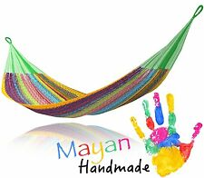 Multi Color Handwoven Mexican Mayan QUEEN SIZE FAMILY Hammock E3