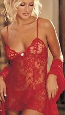 Valentines Womens Red Lingerie Underwear Mesh Babydoll and  G-String Night Wear