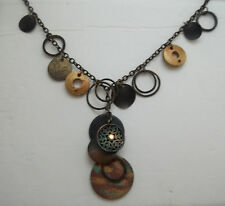 Antiqued Copper Charm & Chain Lariat Necklace Eclectic Steampunk Style