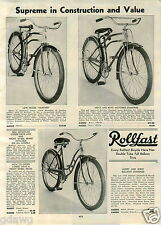 1939 PAPER AD Rollfast Bicycle Bike Harvard Motobike