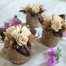 Artificial Flowers in a Wooden Vase, Floral Arrangements, Wedding Decoration