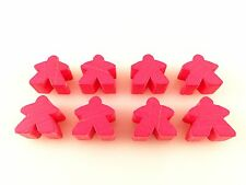 Carcassonne Replacement / Expansion Parts Wooden Follower Meeples 8x - Pink