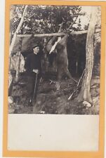 Real Photo Postcard RPPC - Hunting Hunter with Rifle and White Tail Deer