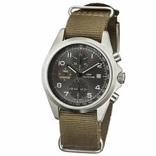 Glycine Men's 3924-10AT-TB2 Combat Automatic Chronograph Gray Dial Green Strap