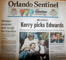2004 headline newspaper DEMOCRATS pick JOHN EDWARDS as VP beforeHIS SEX SCANDAL