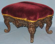 ANTIQUE DECORATIVE CAST IRON FOOT STOOL ROCOCO STYLE MOHAIR COVERED TOP