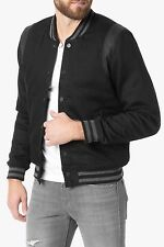NWT 7 FOR ALL MANKIND SzXL VARSITY BOMBER JACKET ROGUE BLACK $378.
