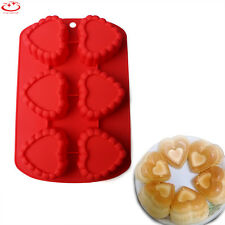 6 Cavity Heart Shaped Silicone Mold Cupcake Muffin Chocolate Jelly Cake Mould