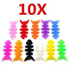 10PCS Fish Bone Earphone Cable Winder Headphone Cord Wire Wrap Holder Organizer#