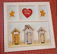 3D Primitive Country Baths Outhouse Plaque Bathroom Window Heart Stars