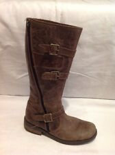 Girls m Kids Brown Leather Boots Size 34