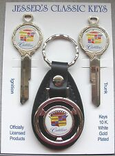 White Cadillac Crest Classic White Gold Deluxe J/K Key Set 1970 1974 1978 1982