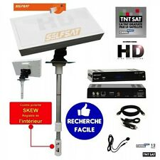 Pack Antenne satellite plate Selfsat + Récepteur TNTSAT HD + Cable 12V + HDMi +