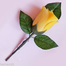 YELLOW Rose Bud Wedding Bridal Button Hole Corsage Complete With Lapel Pin